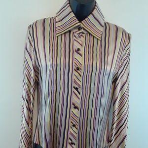 St. John women's silk long sleeve button-down blou